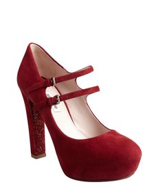 Miu Miu red suede and glitter sole double strap mary janes