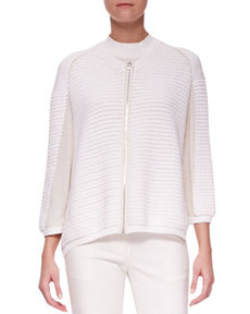 Zip-Up Paneled Cardigan   Zip-Up Paneled Cardigan