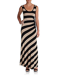 Calvin Klein Striped Ruched Maxi Dress