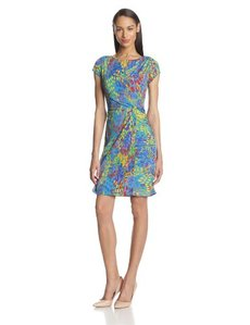Ellen Tracy Women's Short-Sleeve Side-Gathered Dress