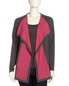 Lafayette 148 New York Fine Gauge Contrast-Front Cardigan, Dark Nickel/Pink