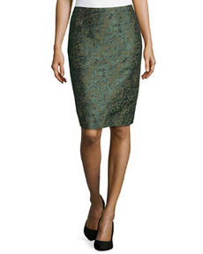 Lafayette 148 New York Leopard-Jacquard Pencil Skirt, Mallard