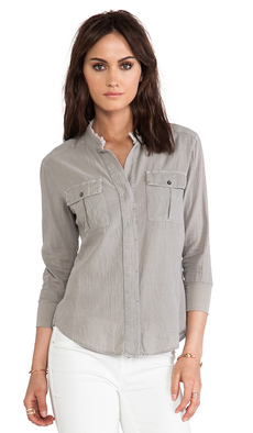 James Perse Collarless Safari Top in Gray