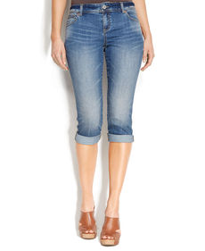 INC International Concepts Petite Curvy Rolled-Cuff Skimmers, Medium Wash