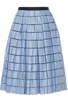 Tibi Raffia-effect cotton-blend skirt
