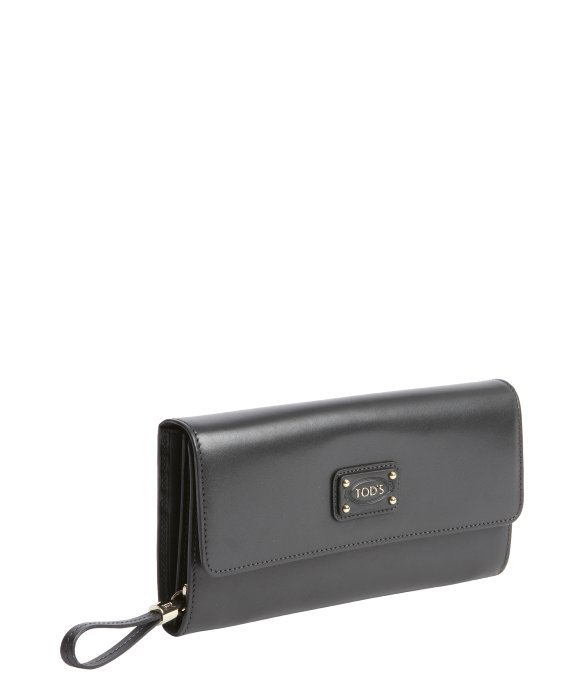 Tod's grey calfskin multi-card continental wallet