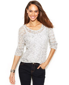 INC International Concepts Petite Three-Quarter-Sleeve Open-Knit Sweater