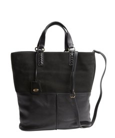 Tod's black leather convertible tote bag