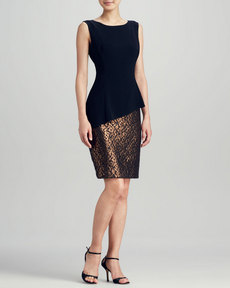 Lafayette 148 New York Emma Peplum Combo Dress
