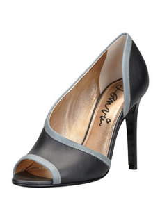 Peep-Toe d'Orsay Pump, Black/Gray   Peep-Toe d'Orsay Pump, Black/Gray