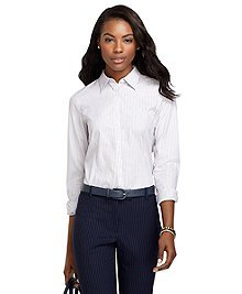 Non-Iron Tailored Fit Thin Triple Dash Stripe Dress Shirt