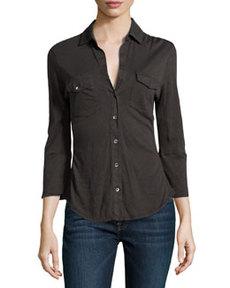 James Perse Contrast-Knit Paneled Shirt, Carbon