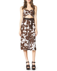 Strapless Cutout Floral-Print Dress   Strapless Cutout Floral-Print Dress