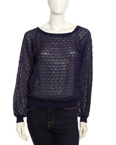 Isaac Mizrahi Sheer Knit Long-Sleeve Sweatshirt, Navy