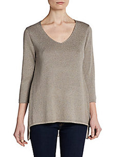 Ellen Tracy Mixed-Media V-Neck Top