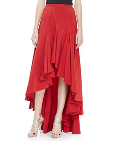 Michael Kors Arched-Hem Ruffled Skirt