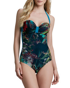 Jean Paul Gaultier Winter Floral Printed Halter Sweetheart One-Piece