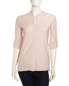 James Perse Collarless Tab-Sleeve Button-Up, Puff
