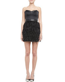Feather-Skirt Strapless Dress   Feather-Skirt Strapless Dress