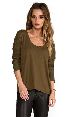 Michael Stars Scoop Neck Sweater in Olive