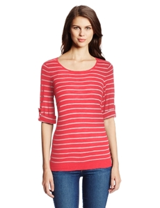 Calvin Klein Women's Stripe Roll Sleeve Sweater
