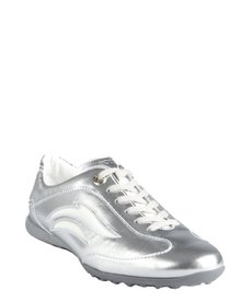 Tod's silver and white lace up sneakers