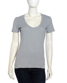 James Perse Short-Sleeve Scoop-Neck Jersey Tee, Breeze