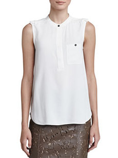 Sleeveless Crepe Blouse with Pocket   Sleeveless Crepe Blouse with Pocket