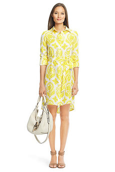 Habotai Printed Silk Shirt Dress