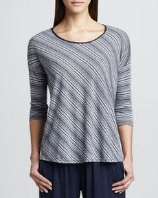 Three Dots Bias-Striped Tie-Back Top