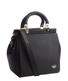 Givenchy black leather gold accent top handle bag