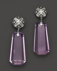 Badgley Mischka Pink Amethyst With Brown Diamond Drop Earrings