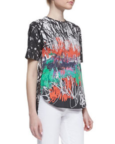 Abstract-Print Poplin Top   Abstract-Print Poplin Top