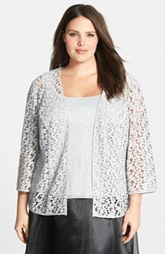 Alex Evenings Scoop Neck Tank & Lace Jacket (Plus Size)