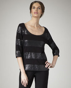 Joan Vass Striped Sequin Top