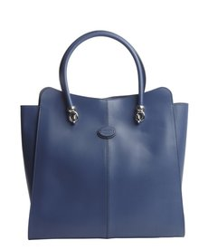 Tod's cobalt leather logo stamp top handle large tote