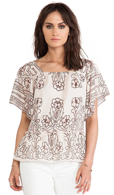 Anna Sui Lily Border Print Blouse in Blush