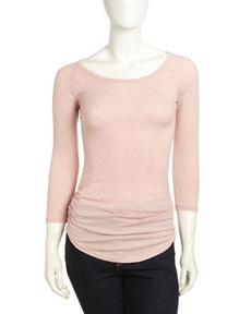 James Perse Ruched Side Baseball Tee, Floral Pigment