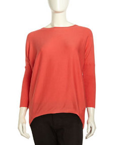 Lafayette 148 New York Ribbed Knit Dolman Sweater, Watermelon