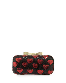 Betsey Johnson Heart Sequin Chain Clutch, Red/Black