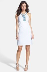 Laundry by Shelli Segal Embroidered Trim Jacquard Sheath Dress