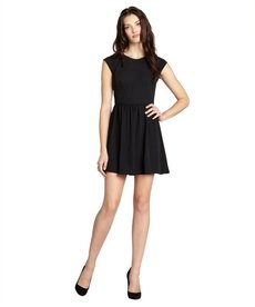 Rebecca Taylor black chiffon pleated cap sleeve 'Easy' flare dress