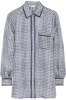 Oscar de la Renta Printed cotton-blend twill shirt