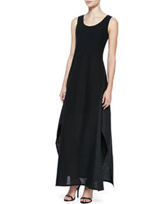 Lafayette 148 New York Linen & Gauze Sleeveless Long Dress
