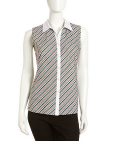 Lafayette 148 New York Solid-Collar Striped Sleeveless Blouse