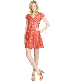 A.B.S. by Allen Schwartz tangerine stretch lace detailed cap sleeve dress