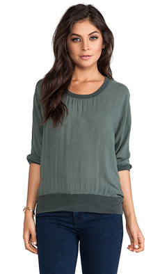 James Perse Chiffon Sweatshirt in Dark Green