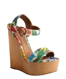 Dolce & Gabbana khaki floral dyed canvas platform wooden wedge sandals