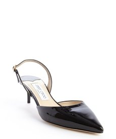Jimmy Choo black patent leather 'Tide' slingback pumps