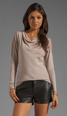 Michael Stars Long Sleeve Drape Neck With Split Sleeves in Brown